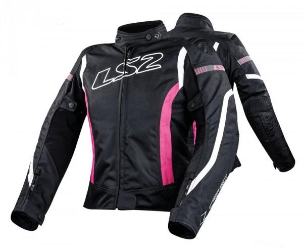 LS2 Damen Textiljacke GATE wasserdicht schwarz pink