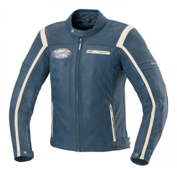 IXS Vintage Lederjacke SHAWN Used-Look blau-beige