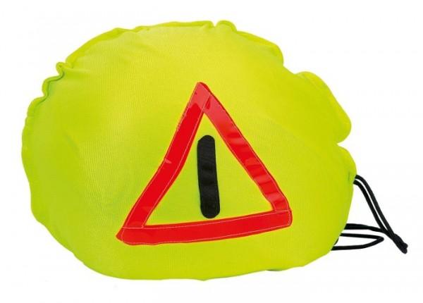 Warnhaube für Helme Helmüberzug neongelb