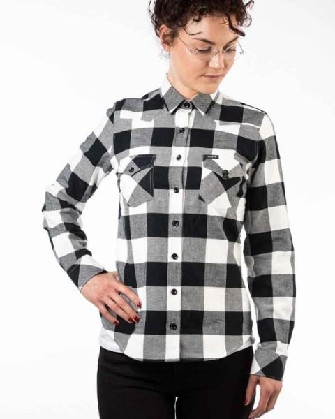 ROKKER Damen Flanell Hemd Shirt PASADENA schwarz weiss