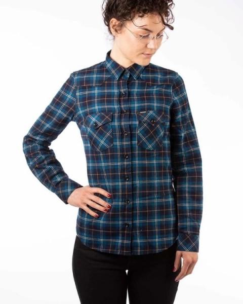 ROKKER Damen Flanell Hemd Shirt SALINAS blau