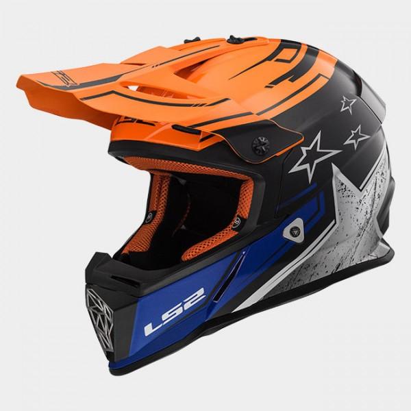 LS2 Offroadhelm MX437 FAST CORE mattschwarz-orange