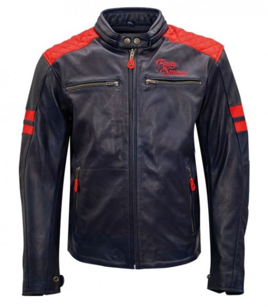 RUSTY STICHES Lederjacke JARI navy red