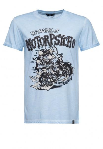 KING KEROSIN T-Shirt Oilwashed MOTOR PSYCHO light blue