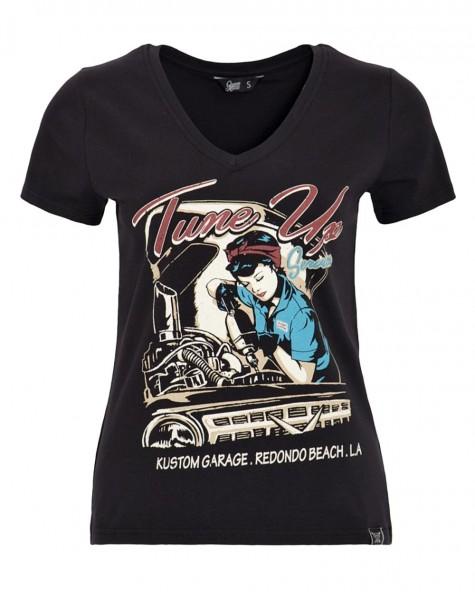 QUEEN KEROSIN Damen T-Shirt TUNE UP schwarz