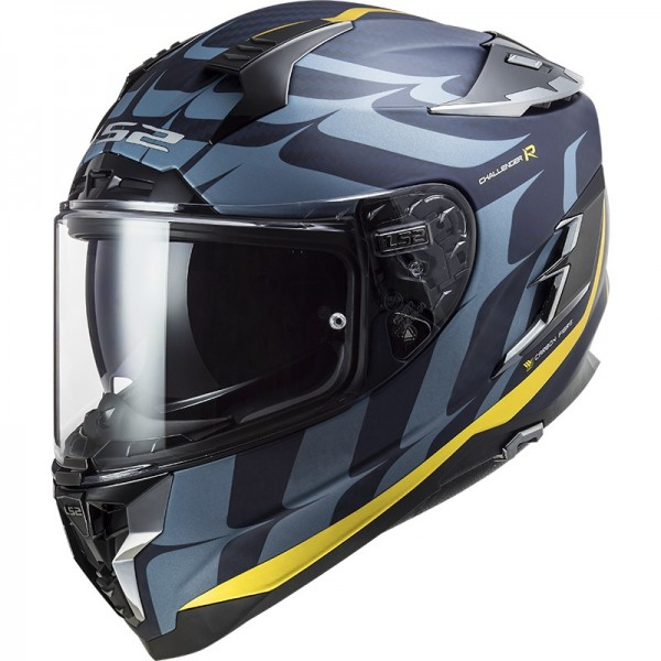 LS2 Integralhelm FF327 CHALLENGER CT2 FLAMES blue carbon gold