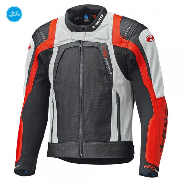 HELD Textil-Leder-Mix Jacke Sportjacke HASHIRO II schwarz-weiss-rot