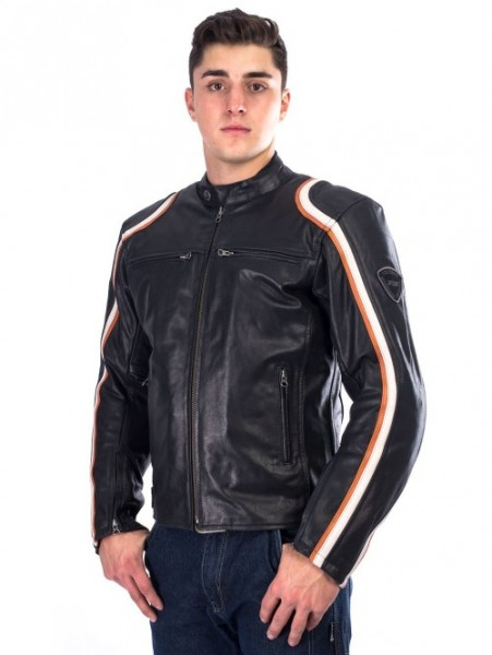 BELO Lederjacke STURGIS schwarz-orange-weiss